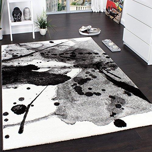 Teppich Modern Splash Brush Designer Teppich Meliert Schattiert Schwarz  Creme, Grösse:200x290 Cm Online Kaufen Bei WOONIO