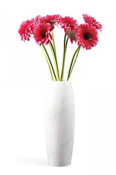 Weier-Marmor-Vase-massiv-runde-Bodenvase-oder-Standvase-edler-Weiss-Marmor-Unikat-aus-Naturstein-Mae-H-1036cm-Gewicht-ca-8-kg-0