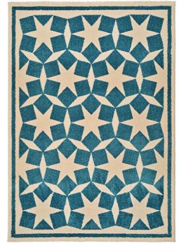 benuta teppiche teppich anis blau 200x290 cm schadstofffrei 100 polypropylen sterne. Black Bedroom Furniture Sets. Home Design Ideas