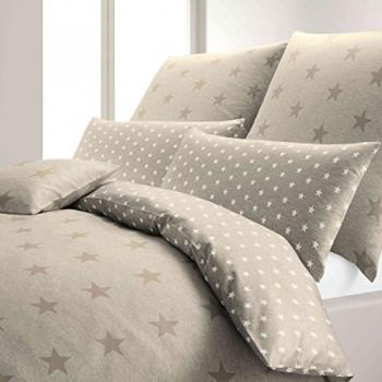 elegante-Bettwsche-StarsStripes-Sky-sand-155x220-cm--80x80-cm-0