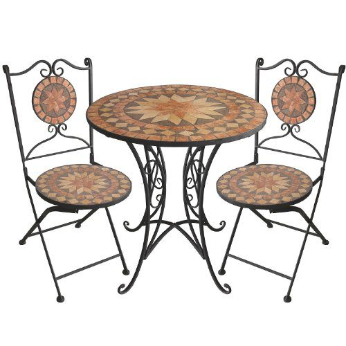 3tlg. Mosaik Gartengarnitur Mosaiktisch Ø70cm + Klappstühle ...