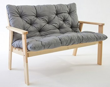 Ambientehome-90222-2-er-Bank-Garten-Holz-Lounge-Massivholz-Hanko-natur-mit-Kissen-0