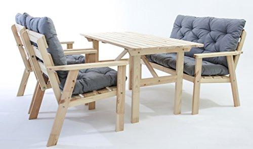 ambientehome garten loungegruppe sitzgruppe essgruppe massivholz inkl kissen hanko natur 7. Black Bedroom Furniture Sets. Home Design Ideas