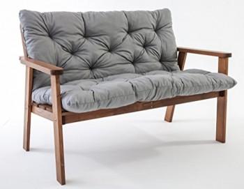 Ambientehome-90225-2-er-Bank-Garten-Holz-Lounge-Massivholz-Hanko-braun-mit-Kissen-0