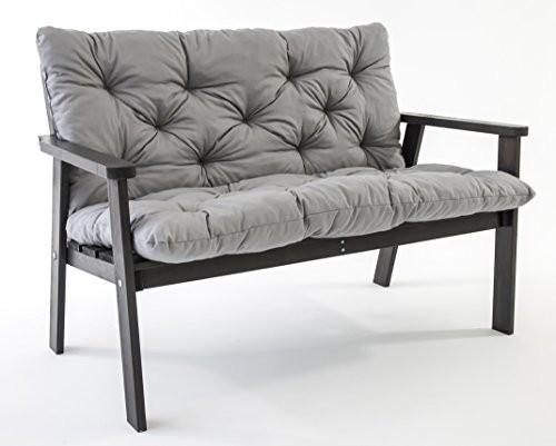 Ambientehome-90228-2-er-Bank-Garten-Holz-Lounge-Massivholz-Hanko-taupegrau-mit-Kissen-0