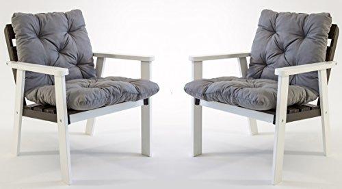 ambientehome garten loungegruppe sitzgruppe essgruppe massivholz inkl kissen hanko wei. Black Bedroom Furniture Sets. Home Design Ideas