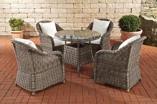 clp poly rattan luxus garten sitzgruppe farsund grau meliert 5 mm rund rattan 4 st hle. Black Bedroom Furniture Sets. Home Design Ideas