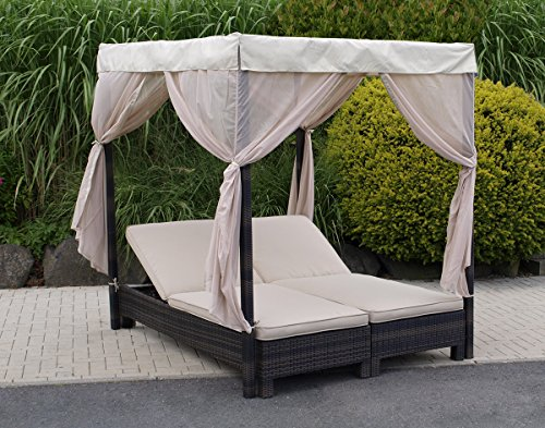 doppelliege mit baldachin antibes alu polyrattan mocca mit rollen online kaufen bei woonio. Black Bedroom Furniture Sets. Home Design Ideas