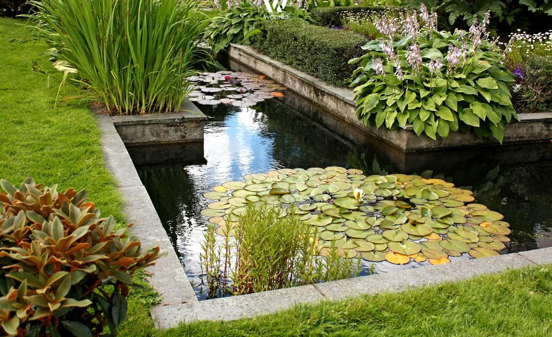 Fein angelegter teich mit verschiedenen ebenen wohnidee for Garten 2 ebenen