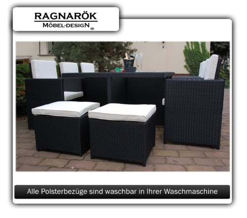 gartenm bel polyrattan essgruppe tisch mit 6 st hlen 4 hocker deutsche marke eignene. Black Bedroom Furniture Sets. Home Design Ideas