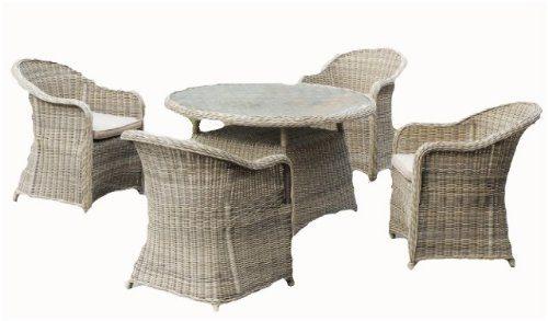 hochwertige garten tischgruppe tisch 4 sessel inkl auflagen poly rattan sandfarbig online. Black Bedroom Furniture Sets. Home Design Ideas