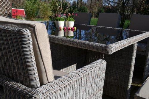 polyrattan rattan geflecht garten sitzgruppe toscana xl in sand grau natur rundgeflecht 3mm. Black Bedroom Furniture Sets. Home Design Ideas