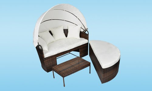 vidaxl sonnen insel mit tisch rattan braun online kaufen. Black Bedroom Furniture Sets. Home Design Ideas