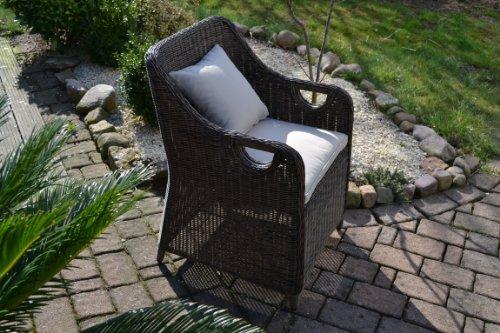 Rattan Ecksofa Klein ~  Stühle Rattan Polyrattan Geflecht Gartenmöbel schwarz braun Neapel 8