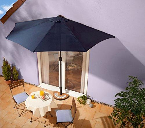 sonnenschirm blau mit kurbel halbrund online kaufen bei woonio. Black Bedroom Furniture Sets. Home Design Ideas