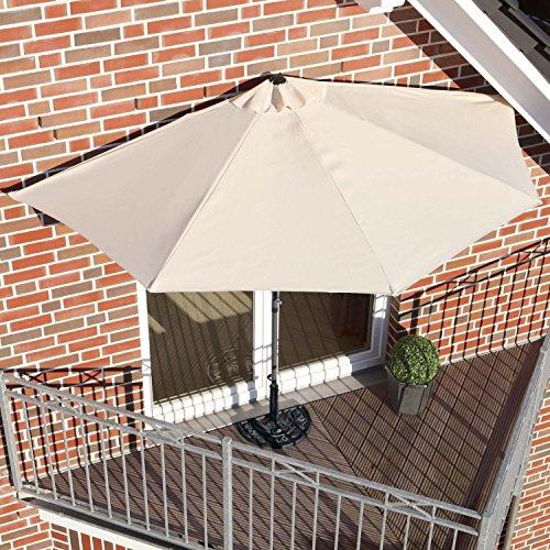 sonnenschirm halbrund rechteckig f r balkone oder terrassen polyester metall ca 270 cm breit. Black Bedroom Furniture Sets. Home Design Ideas