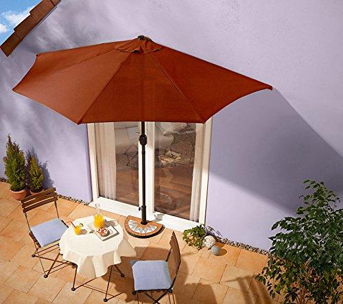 sonnenschirm terrakotta mit kurbel halbrund online kaufen bei woonio. Black Bedroom Furniture Sets. Home Design Ideas