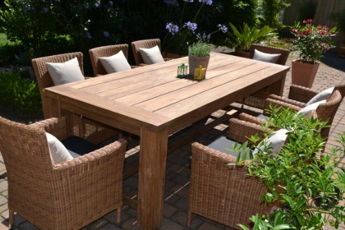 teak sitzgruppe garten garnitur tisch 240x100 und 8 sessel st hle rattan und recyceltes teak. Black Bedroom Furniture Sets. Home Design Ideas