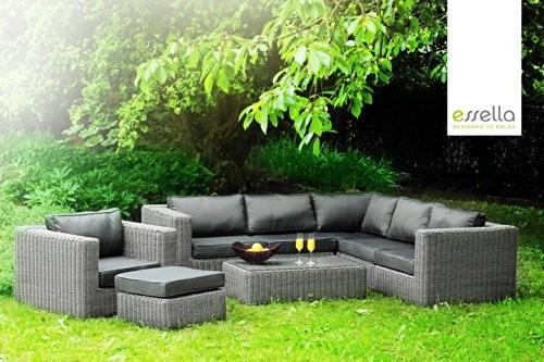 essella polyrattan eck garnitur alabama in grau online kaufen bei woonio. Black Bedroom Furniture Sets. Home Design Ideas