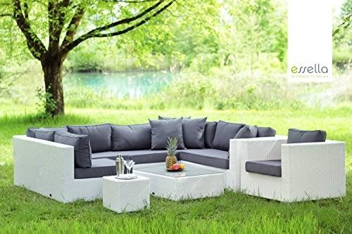 essella polyrattan garnitur miami in wei online kaufen bei woonio. Black Bedroom Furniture Sets. Home Design Ideas
