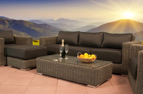 essella polyrattan garnitur monaco in grau mit 5mm rundgeflecht online kaufen bei woonio. Black Bedroom Furniture Sets. Home Design Ideas