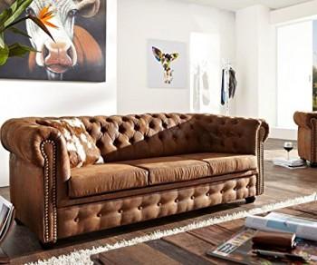 3-Sitzer-Chesterfield-Braun-200x95-cm-Wildlederoptik-Sofa-0