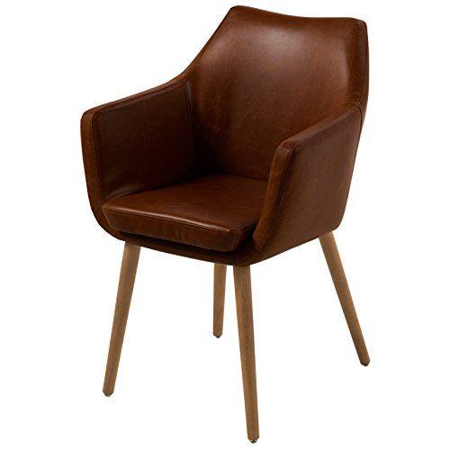 AC-Design-Furniture-Polsterstuhl-aus-Kunstleder-mit-Armlehnen-Beine-Eiche-Lore-dunkelbraun-0