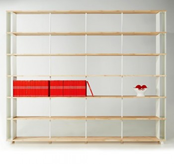 Bcherregal-SKAFFALEGNO-MASSIVHOLZ-kombinierbare-Regal-Wand-Design-Einlegebden-Made-in-ITALY-cm-H-252-X-150-0
