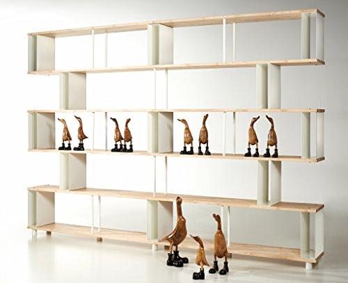 Bücherregal SKAFFAWOOD RANDOM MASSIVHOLZ Kombinierbare Regal Wand Design  Einlegeböden Made In ITALY Cm. H 211 X 300 Online Kaufen Bei WOONIO