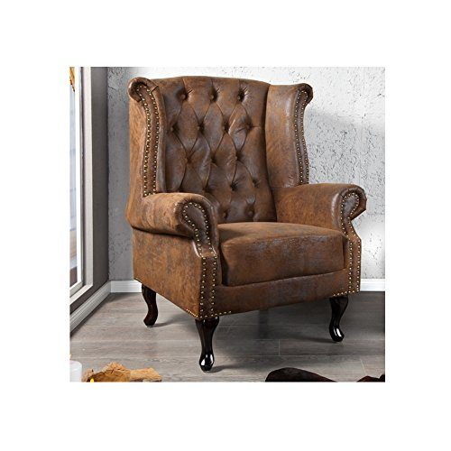 cag edler ohrensessel winchester braun aus kunstleder im klassisch englischen chesterfield. Black Bedroom Furniture Sets. Home Design Ideas