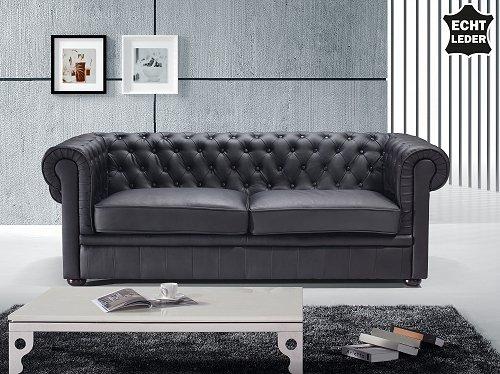 chesterfield sofa schwarz ledersofa ledercouch online kaufen bei woonio. Black Bedroom Furniture Sets. Home Design Ideas