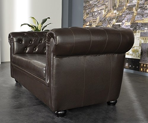 couch chesterfield braun 2 sitzer sofa abgesteppt. Black Bedroom Furniture Sets. Home Design Ideas