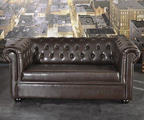 Couch-Chesterfield-Braun-2-Sitzer-Sofa-Abgesteppt-Gepolstert-0