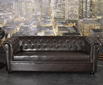 Couch-Chesterfield-Braun-3-Sitzer-Sofa-Abgesteppt-Gepolstert-0