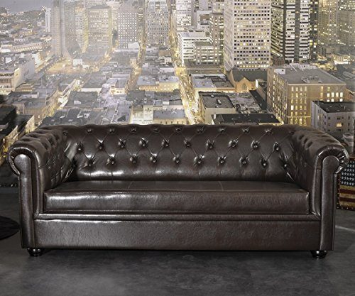 couch chesterfield braun 3 sitzer sofa abgesteppt. Black Bedroom Furniture Sets. Home Design Ideas