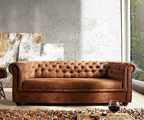 couch chesterfield braun 200x90 cm antik optik abgesteppt 3 sitzer online kaufen bei woonio. Black Bedroom Furniture Sets. Home Design Ideas