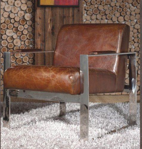 echtleder vintage edelstahl sessel ledersessel design lounge clubsessel sofa m bel neu 445. Black Bedroom Furniture Sets. Home Design Ideas