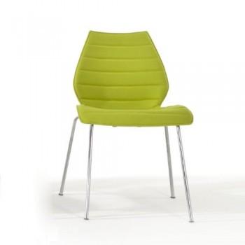 Kartell-Maui-Soft-Stuhl-giftgrn-Stoff-Trevira-Gestell-verchromter-Stahl-0