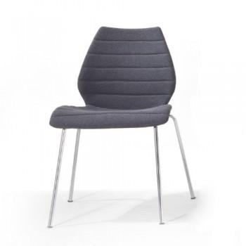 Kartell-Maui-Soft-Stuhl-grau-Stoff-Trevira-Gestell-verchromter-Stahl-0