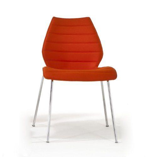 Kartell-Maui-Soft-Stuhl-orange-Stoff-Trevira-Gestell-verchromter-Stahl-0