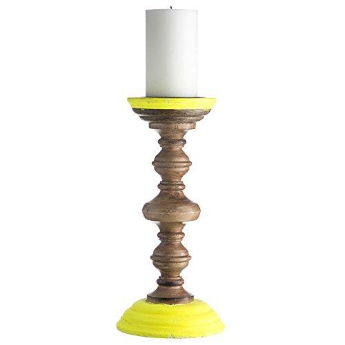 Dänische Kerzenständer Holz ~   holz farbe neon gelb kerzenständer aus holz mit neon farbstreifen