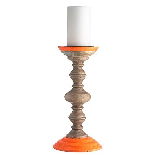 MADAM-STOLTZ-FF10-663-NY-Kerzenstnder-NEO-15x15x30-cm-Holz-Farbeorange-0