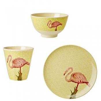 Sparset-Rice-Melamin-Geschirrset-Flamingo-3-teilig-0
