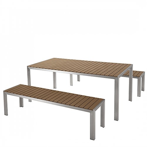 aluminium gartenmbel set braun tisch 180cm 2 bnken polywood nardo 0. Black Bedroom Furniture Sets. Home Design Ideas