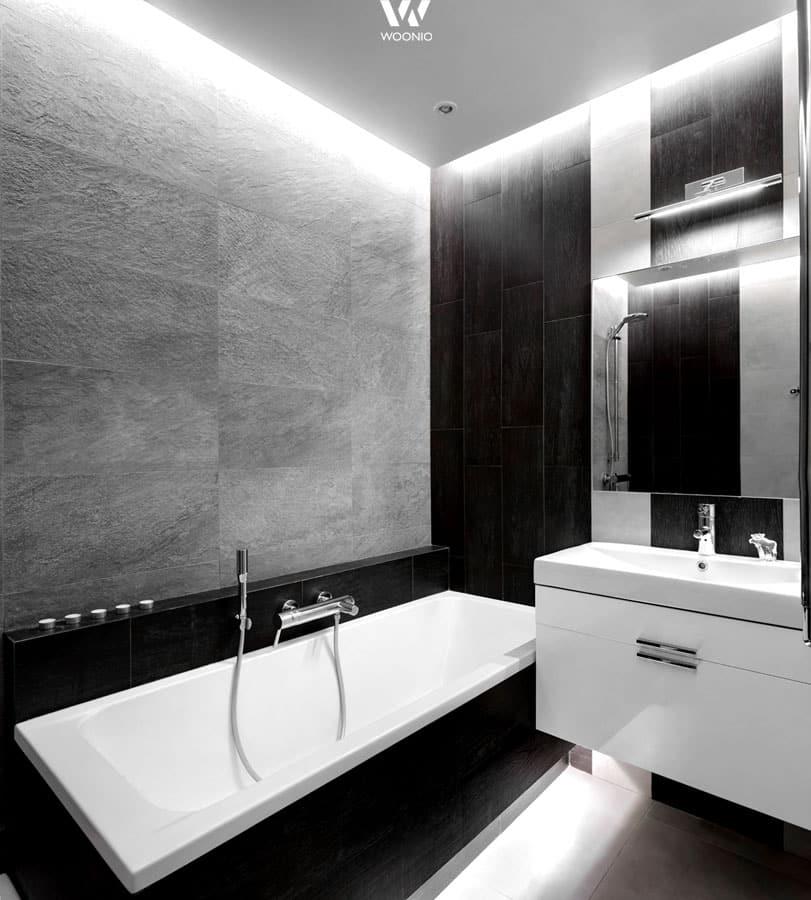 Schwarz-weiß-Stil im Badezimmer - Wohnidee by WOONIO