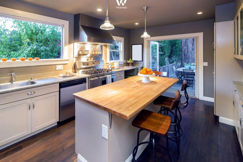 der k chenblock in der mitte l dt auch mal nur zu einem. Black Bedroom Furniture Sets. Home Design Ideas