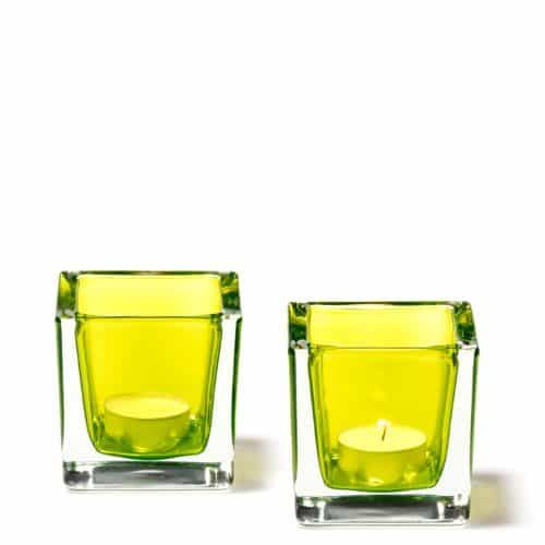 LEONARDO-080193-Set2-Tischlichter-Cube-8-cm-apfelgrn-0