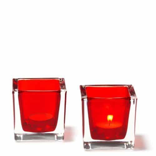 LEONARDO-086418-Set2-Tischlichter-Cube-8-cm-rot-0