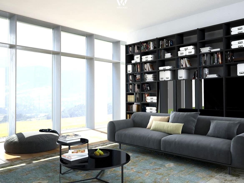 Ein großes Regal im Wohnzimmer zeigt die Interessen und das Wissen ...