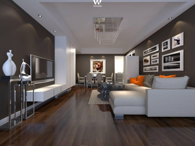 Die Durchdachte Beleuchtung Machen Die Dunklen Wande Dieses Wohnzimmers Um Einiges Freundlicher Wohnidee By Woonio